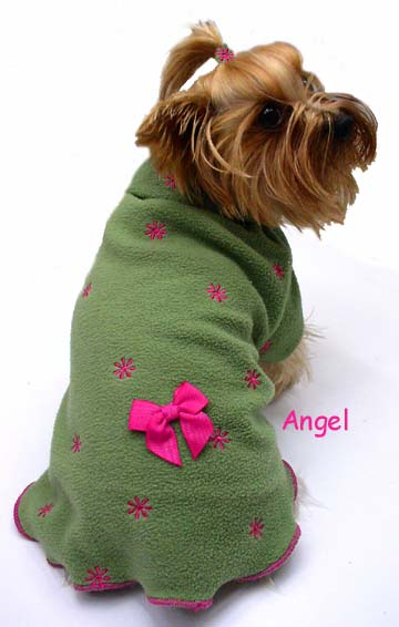 Moss green flrrce pink flowers dog clothes