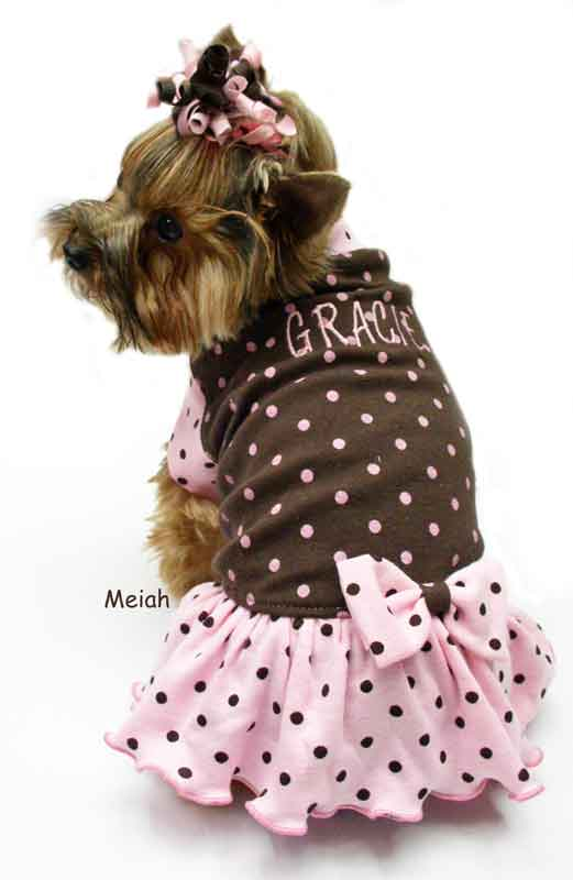 Brown with pink dots dog clothes