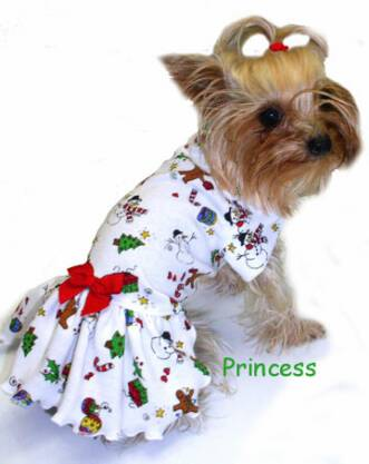 Gingerbread Men on Winter White Knit dress dog clothes