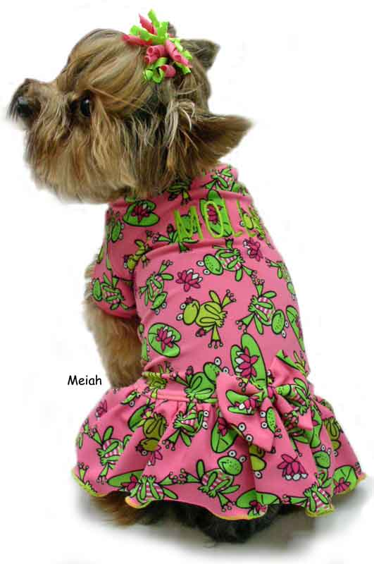 Green Frogs on Pink dog clothes