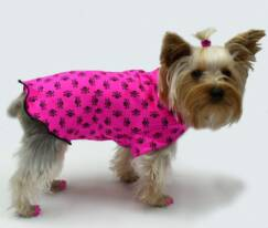 Hot Pink with black skulls dog clothes