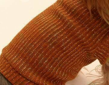 Orange with Gold Sparkles Knit Sweater c loseup
