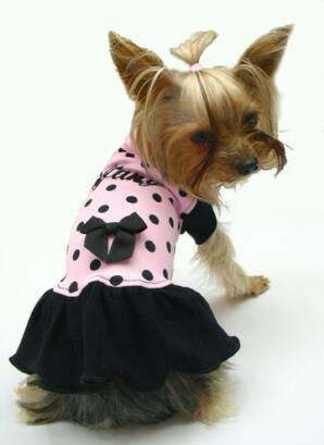 Pink with Tiny Black Polka Dots dress